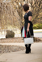 Lindsey Puls - Fashionmia Dress, Kate Spade Bag, Kelly & Katie Otk Boots - Rainbow, Pleated Dress Outfit Remix for NYE
