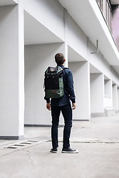 Kevin Elezaj - Converse Sneakers, Cheap Monday Jeans, Farah Shirt, Eastpak Bag - Eastpak Always On