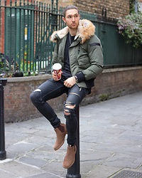 Henry & William Wade - Diesel Bomber Jacket, Tailored By Myself, Superdry Suede Chelsea Boots - The winter warmer