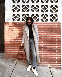 Tiffany Wang - Common Projects Sneakers, Citizens Of Humanity Jeans, Mango Bodysuit, Jw Anderson Bag - BRICK WALL