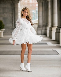 Lauren Recchia - Milly Lace Dress, Manolo Blahnik White Booties - New Look Lace