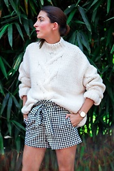 Malia Keana - Zara Knitwear, Zara Gingham Shorts, Paul Hewitt Rose Gold Watch - Gingham knit look