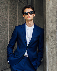 Anton Dee - Ray Ban Sunglasses, Farah Shirt, Jaeger Suit - Jaeger Lookbook 3