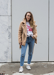 Jenaly Enns - Forever 21 Shearling Moto Coat, Ganni Logo Sweat Shirt, Levi's® 501's Skinny, Vans Old Skool Sneakers - Shearling coat and new denim