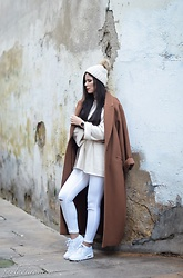 Paula Deiros -  - Oversized Brown Coat & White