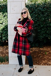 Meagan Brandon - Plaid Coat, Saint Laurent Tote, Ag Ex Boyfriend Jeans, Gucci Loafers - Festive Plaid Coat for the Holidays