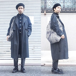 @KiD - Sasu Kauppi Denim Trench Coat, Muji Denim Jacket, Ch. Gray Pants, Emerald Thirteen Circle Bag, Dr. Martens Tussle Loafer - JapaneseTrash263