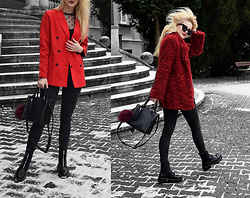 Endzel - Romwe Blazer, Romwe Mesh Dots Top, Jacket, Bag, Sunglasses, Pull & Bear Shoes, House Pants - Red nose
