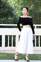 Kristen Tanabe - Shein Off The Shoulder Velvet Top, Bariii Culottes, Issac Mizrahi Pointed Pumps - Pearly and White