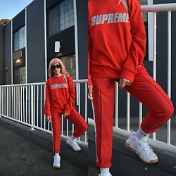 Alexis Boldt - Supreme Crewneck, Nike Uptempo, Puma Trousers - Red Bean