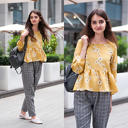 Christina&Karina Vartanovy - Romwe Yellow Calico Flower Print Frill Hem Blouse, Romwe Grey Checked Drawstring Waist Pants, Sammydress Studded Backpack, Rosegal White Mesh Embroidered Espadrilles - Karina // too good at goodbyes