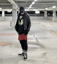 ★masaki★ - Kollaps Noise Music 実験 音楽, Vintage Leather Jacket, Converge Jane Doa, H&M Plaid Shirts, Asos Dropcrotch, Vans Sk8hi - Jane Doa
