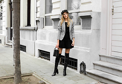 Maria B - River Island Chain Newsboy Cap, H&M Check Blazer, Zara Flared Stretch Knit Mini Skirt, Zara Over The Knee Boots, Zara Mini Bucket Bag - Statement Boots