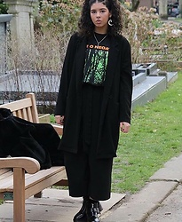 Megan Marshall - Zara Black Culottes, New Look Black Duster Coat, Ebay Vintage Type O Negative Shirt, Depop Chunky Boots - LOVE YOU TO DEATH