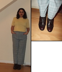 Selina M - Vinted Knitted Top, Vintage Sale Checked Trousers - Butterfingers