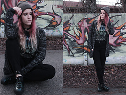 Sofi B. - Iron Maiden Band T Shirt, Reserved Black Studded Jeans, Reserved Green Leather Sneakers, Dark Grey Knitted Cardigan, Grey Knitted Hat, Black Leather Choker - LET'S MAKE SOME CHANGE