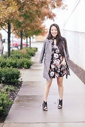 Kimberly Kong - Zara Printed Jacket, Qupid Lace Up Heels - The $12 Skater Dress You Need In Your Life