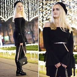 Natalia Piatczyc - Black Beret, Primark Off Shoulder Blouse, Black Skirt, Zaful Black Chain Bag, Primark Black Stars Boots - New Year's Eve Look