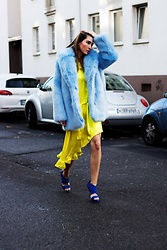 Malia Keana - H&M Faux Fu, H&M Dress - Sky blue and sunny yellow