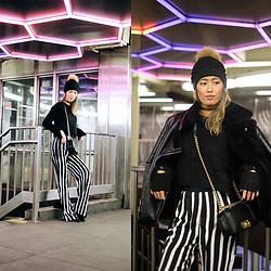 Ohn MintyFresh - Missguided Stripe Pants, Chanel Bag - Winter Stripes in NYC