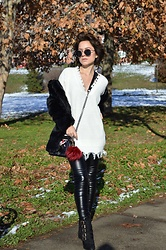Marija M. - Zaful White Frayed Sweater, Zaful Pu Leather Pants, Deichmann Faux Suede Boots - White sweater