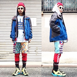 @KiD - Obey Red Beenie, The Northface Nylon Jacket, New Order Movement, Rvca Crazy Pattern Shorts, Adidas Red Jersey, Reebok Xmen - JapaneseTrash272