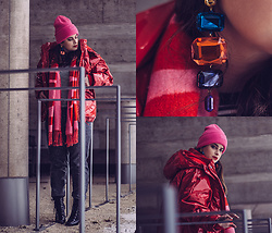 Jules - H&M Beanie, H&M Scarf, H&M Top, Mango Jogging Pants, Stradivarius Heels, H&M Earrings, H&M Jacket - Winter Blocking