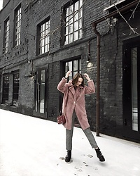 Alina Ermilova - Shein Pink Teddy Coat - Teddy Coat