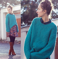 Iva K - Esprit Sweater, Asos Skirt - Cozy sweater