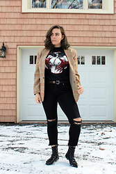 Kaylee Jo - Blackcloudcompany Satan Loves Your Tits Tee, Zara Flat Ankle Boot - Satan Loves Your Tits