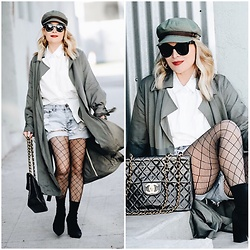 Zia Domic - Loosely Khaki Trench, One Teaspoon Denim Shorts - 90's Layers