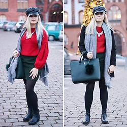 Natalia Piatczyc - Zaful Red Oversize Sweater, Mohito Green Bag - Newsboy hat