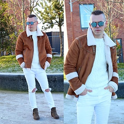 A'la mode garçon - Christian Dior Sunglasses, Boohoo Coat, Pull & Bear Sweater, Tk Max Jeans, River Island Boots - I Know You / a'la mode garçon