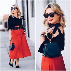 Zia Domic - Storets Black Sweater, Chloé Teal Bag, Nordstrom Red Maxi Skirt - Red After The Holidays