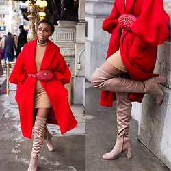 Nkenge Brown - Gucci Belt Bag, Chinese Laundry Otk Boots, Asos Red Coat - 2018