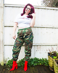 Olivia Lynn -  - Camo Trousers & Red Boots