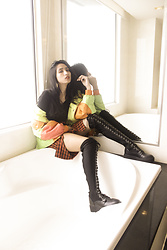 Natalia B - Thrift Neon Orange Green Jacket, Black Offshoulder, Thrift Orange Checkered Skirt, Forever 21 Knee High Boots - Boots and a tub
