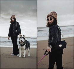Theoni Argyropoulou - Beanie, Pull & Bear Denim Jacket, Mango Bag, Watch, Flared Trousers, Vans Sneakers - Dog Walking Outfit by the beach on somethingvogue.com