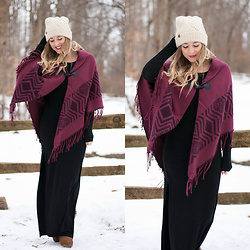 BG by Christina L - Bearpaw Knit Beanie, Thrifted Black Maxi Dress, Bearpaw Printed Fringe Poncho, Bearpaw Tan Boots - 1.11.18