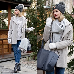 Joanna B - Asos Coat, Pompoms Hat, Gyalmo Shawl, Mako Bags Bag, Zara Boyfriend Jeans, Diverse Sweater - Baby It's Cold Outside