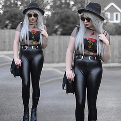 Sammi Jackson - Primark Black Fedora, Zaful Sunglasses, Oasap Mesh Top, Nastydress Lace Bralet, Choies Buckled Belt, Oasap Quilted Bag, Topshop Alexy Boots - FLORAL MESH