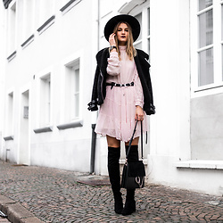 Catherine V. - Asos Fedora Hat, Pimkie Aviator Jacket, Vila Dress, Sacha Thigh High Boots, Chloé Faye Bag - The romantic dress