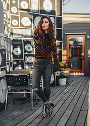Indiefoxx - Asos Sweater, Charlotte Russe Jeans, Charlotte Russe Boots - Colorful Stripes