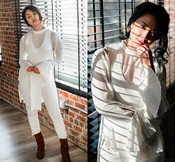 Mai Sunshine - Finders Keepers The Label Long Knit Tunic, H&M Bell Sleeve Blouse, Polo Ralph Lauren White Jeans, Mango Suede Heeled Booties - Twists of My Heart