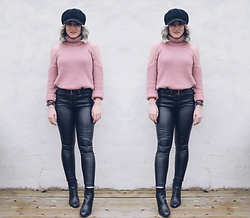 Alex MacEachern - Lotd Pink Roll Neck Cold Shoulder Jumper, Primark Black And Gold Buckle Belt, Misspap Black Pu Pleather Leather Hight Waisted Lace Up Trousers, Primark Black Leather Heeled Boots, Fitbit Black Fit Bit Smart Watch - I'll Never Be The Same