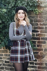 Daisy A - Asos Black Beret, Topshop Red, White, Black Checked/Plaid Pinafore, Rebecca Minkoff Navy Quilted Handbag By - Hey Upper East Siders. Gossip Girl here