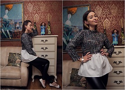 Elena Klimashevskaya - Shein Tweed Blouse, Daniel Wellington Watch, Zara B&W Flats - Tweed Babydoll Blouse