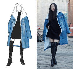 Yonish - Stylewe Sherpa Denim Coat, Zaful Thigh High Boots - Cool Denim