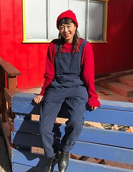 Tina Jo - A.P.C. Red Sweater, A.P.C. Overall, Zara Boots - Playground