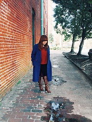 Gift of Gabby Blog - Raywood And Stein Vintage Blue Wool Coat, Forever 21 Rust Orange Cropped Tee, Rampage Heeled Slouchy Boots, A.N.A High Waist Skinny Jeans - Winter Blues